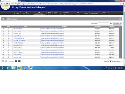 Staff screen on new TKES platform