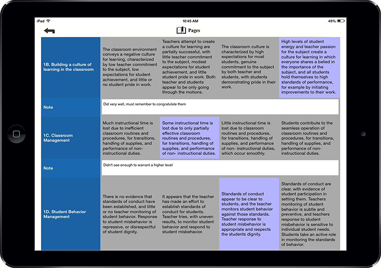 Rubric on iPad